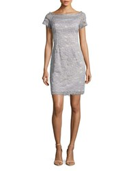 Adrianna Papell Cap Sleeve Lace Sheath Dress Silver