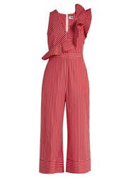 Msgm Ruffle Trimmed Striped Cotton Wide Leg Jumpsuit Red Stripe