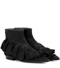 J.W.Anderson Ruffle Suede Ankle Boots Black