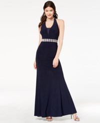 B. Darlin B Juniors' Embellished Illusion Halter Gown Navy
