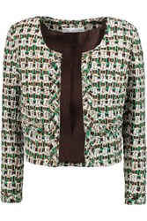 Oscar De La Renta Cropped Boucle Tweed Jacket Green