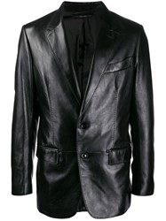 Tom Ford Leather Blazer Jacket Black