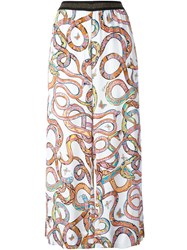 Just Cavalli Printed Cropped Trousers White