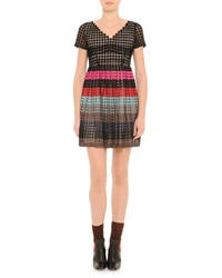 Marco De Vincenzo V Neck Striped Full Skirt Dress Black Multi