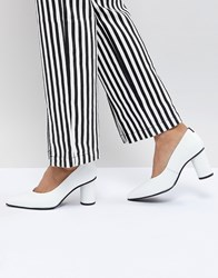Selected Leather Court Shoe With Round Heel White
