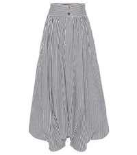 Chloe Striped Cotton Cropped Trousers Blue