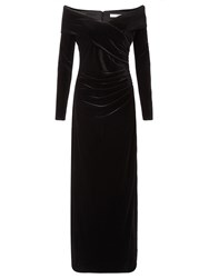 Jacques Vert Velvet Bardot Long Dress Black