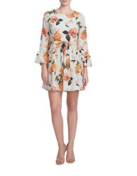 Cece Floral Bell Sleeve Dress Mint