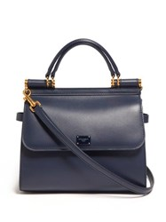 Dolce And Gabbana Sicily Small Leather Bag Navy