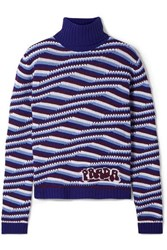 Prada Intarsia Cashmere Turtleneck Sweater Blue