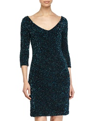 Theia Sequined V Neck 3 4 Sleeve Cocktail Dress Peacock