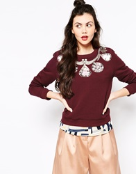 Emma Cook Gems Sweatshirt Burgundy