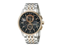 Citizen At8116 57E World Chronograph A T Two Tone Stainless Steel Watches Silver
