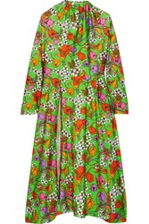 Balenciaga Floral Print Stretch Satin Midi Dress Green
