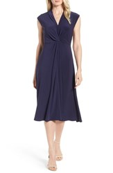 Chaus Knot Front Midi Dress Evening Navy
