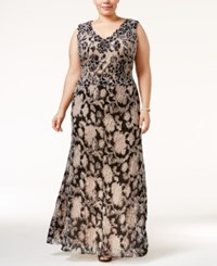 Betsy And Adam Plus Size Floral Lace A Line Gown Black Nude