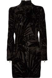 Balmain Flocked Mesh Mini Dress Black