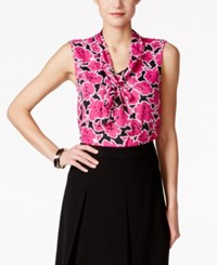 Nine West Sleeveless Floral Print Tie Front Blouse Lollipop Multi
