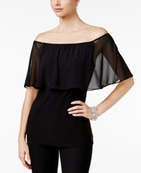 Msk Off The Shoulder Chiffon Peasant Top Black