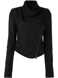 Isabel Benenato Cropped Biker Jacket Black