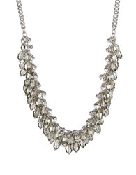 Abs By Allen Schwartz Beaded Collar Necklace Silver