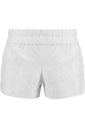 10 Crosby By Derek Lam Broderie Anglaise Cotton And Silk Blend Shorts White