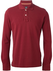 Eleventy Long Sleeve Polo Shirt Red