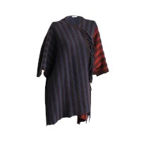 Inverni Short Cape With Fringes In Wool And Acrylic