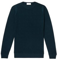 John Smedley Slim Fit Honeycomb Knit Merino Wool Sweater Dark Green