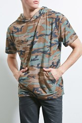 Forever 21 Eptm. Hooded Camo Print Tee Olive Brown