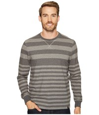 Prana Setu Crew Gravel Stripe Men's Long Sleeve Pullover Gray