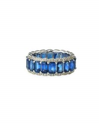 Diana M. Jewels 18K White Gold Sapphire And Diamond Eternity Band Ring 0.51Tcw