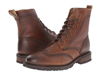 Frye James Lug Wingtip Boot Whiskey Wp Soft Pebbled Full Grain Men's Lace Up Boots Brown