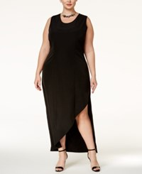 Standards And Practices Trendy Plus Size Asymmetrical Sheath Dress Black