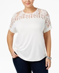 Ing Trendy Plus Size Lace T Shirt Ivory