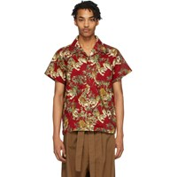 Naked And Famous Denim Red Japanese Tigers Aloha Shirt