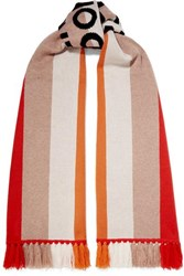 Burberry Fringed Intarsia Cashmere Scarf Red