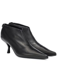 The Row Bourgeoise Leather Ankle Boots Black
