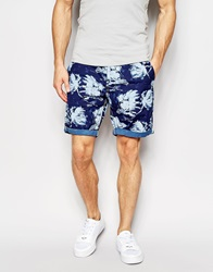 G Star G Star Chino Shorts Bronson All Over Stormy Hawaiian Print Blue