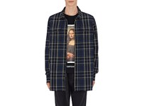 Off White C O Virgil Abloh Checked Cotton Blend Shirt Blue