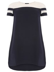 Samya Plus Size Striped Crochet Detail Dress Navy