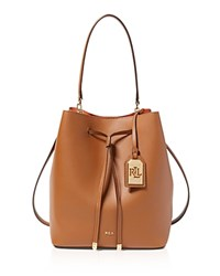 Ralph Lauren Medium Dryden Drawstring Bucket Bag Field Brown Monarch Orange