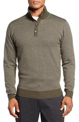Bobby Jones Men's Birdseye Quarter Button Wool Sweater Safari