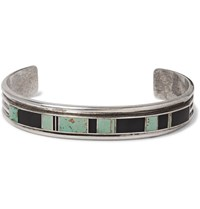 Foundwell 1980S A. Yazzie Sterling Silver Turquoise And Onyx Cuff