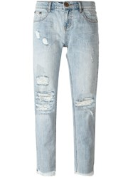 One Teaspoon Cropped Distressed Jeans Blue