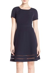 Women's Marc New York Lattice Inset Woven Fit And Flare Dress
