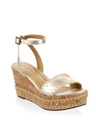 Jack Rogers Lennon Leather Wedge Sandals Platinum