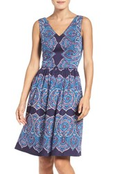 Maggy London Women's Feather Print Fit And Flare Dress