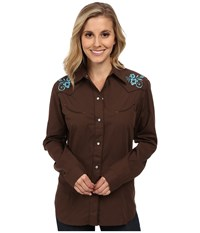 Roper 0145 Solid Broadcloth Brown Women's Long Sleeve Button Up