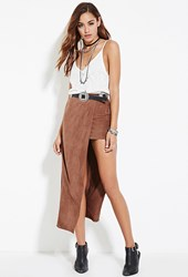 Forever 21 Faux Suede Maxi Skirt Brown